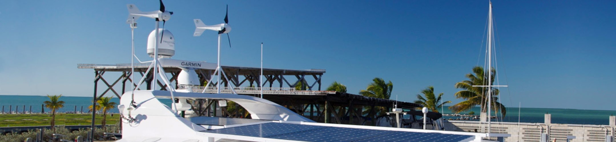 Solar Panel and Wind Turbine on Yacht