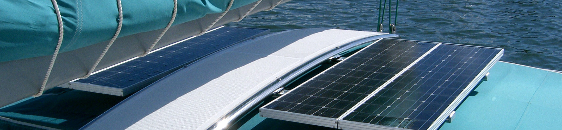 solar panels on yacht roof